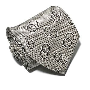 Polo by Ralph Lauren Accessories - VTG Polo RL Silk Tie Interlaced Rings Print